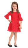 Girls Rosalie Dress in Scarlet Lace