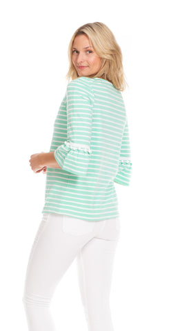 Preston Top in Aqua Stripe