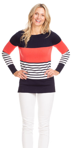 Bree Tunic in Navy & White Stripe