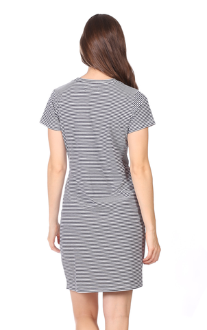 Jess Dress in Thin Navy Stripe