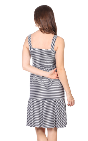 Kyle Dress in Thin Navy Stripe