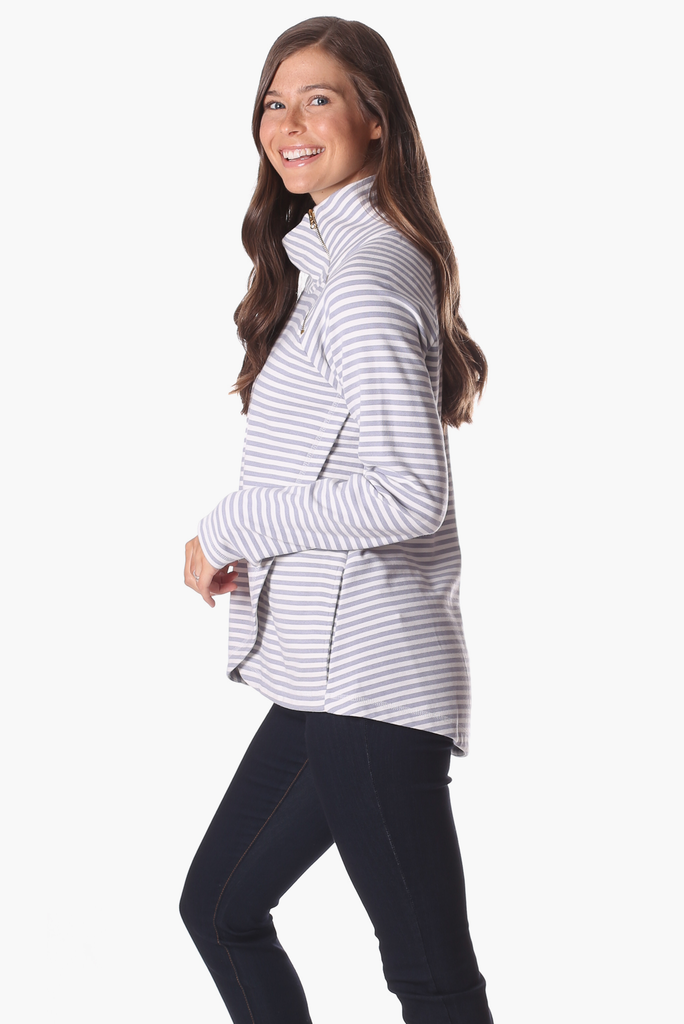 Lexington Sweatshirt in Silver & White Stripe