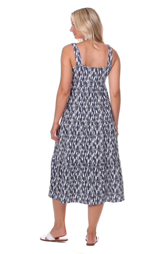Lucy Dress in Navy Brush Print