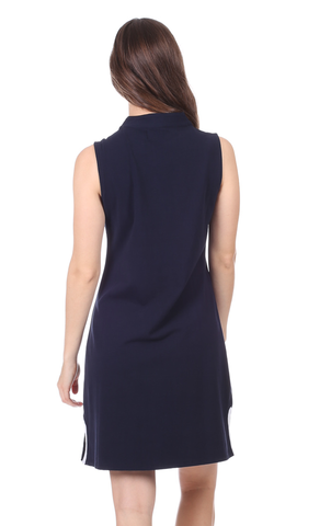 Mackinac Dress in Navy with White