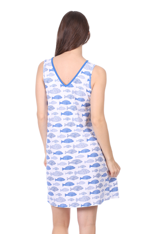 Marissa Dress in Fish Print