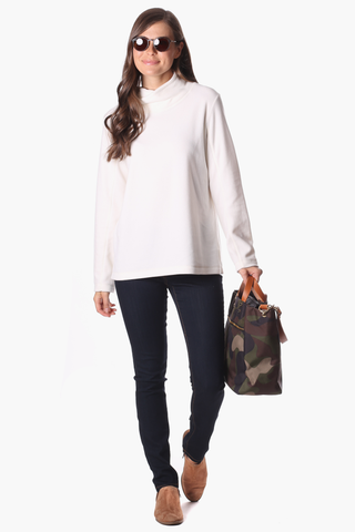 Sutton Cashmere Blend Sweater in Black with Eggnog