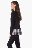 Nina Top in Black Star with Plaid