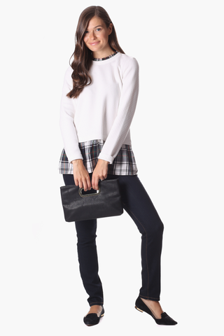 Nina Top in White Star with Plaid
