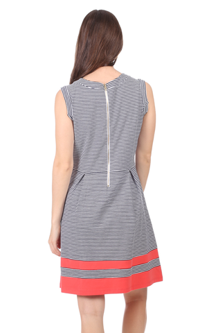 Patricia Dress in Thin Navy Stripe with Cayenne