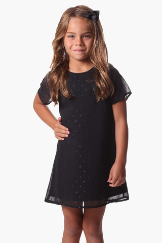 Girls Potter Dress in Black Shimmer Dot