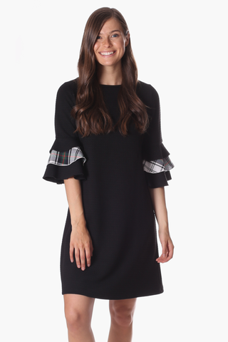 Rawlings Dress in Black Star with Plaid