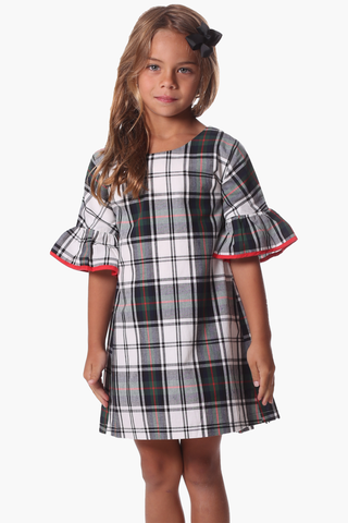 Girls Blake Ruffle Dress in Forest Gingham