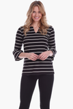 Rose Ruffle Sleeve Top in Black with Ivory Stripes