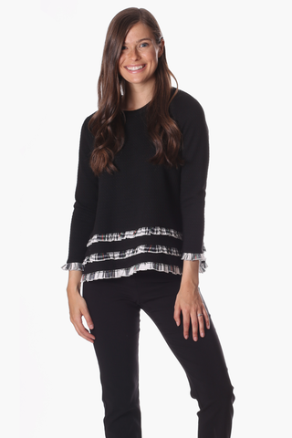 Rowe Ruffle Sweater in Black Star with Plaid