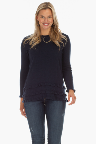 Rowe Ruffle Sweater in Navy