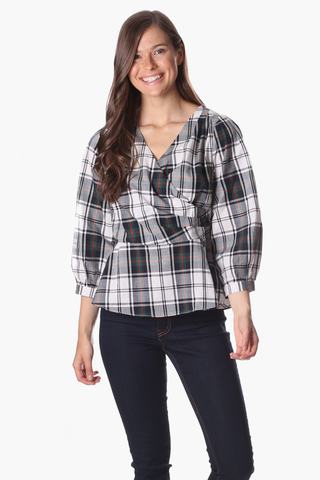 Rudy Wrap Top in Plaid
