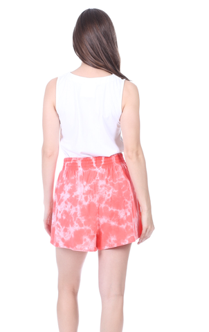 Shelly Shorts in Coral Tie Dye