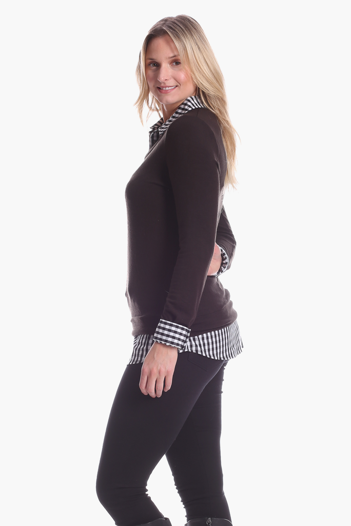 Sloane Top in Black with Gingham