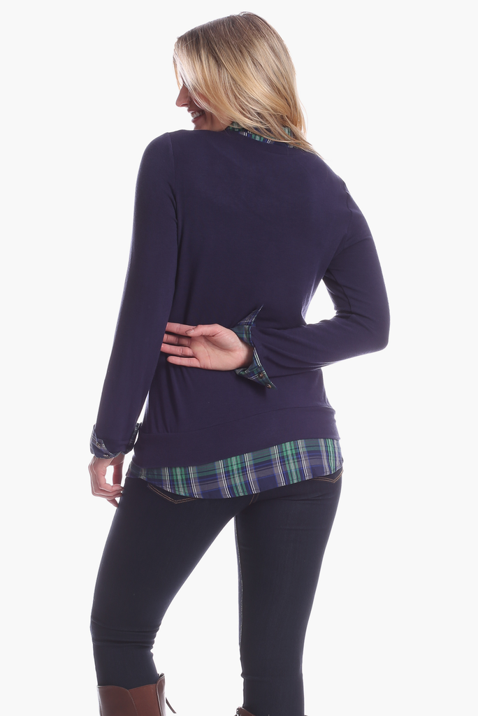 Sloane Top in Navy with Navy & Green Plaid