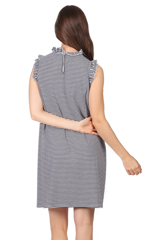 Steph Dress in Thin Navy Stripe