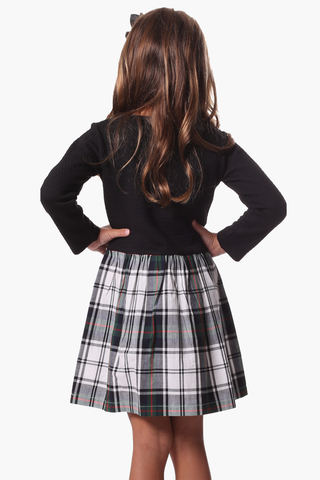 Girls Sydney Dress in Black Star with Plaid