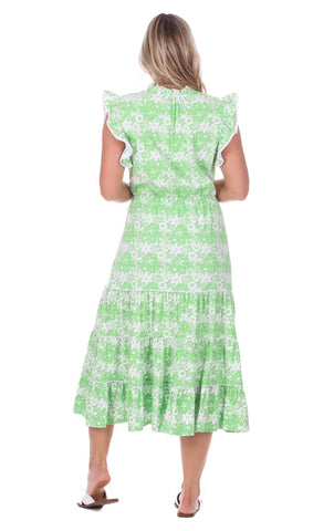 Tia Dress in Green Botanical
