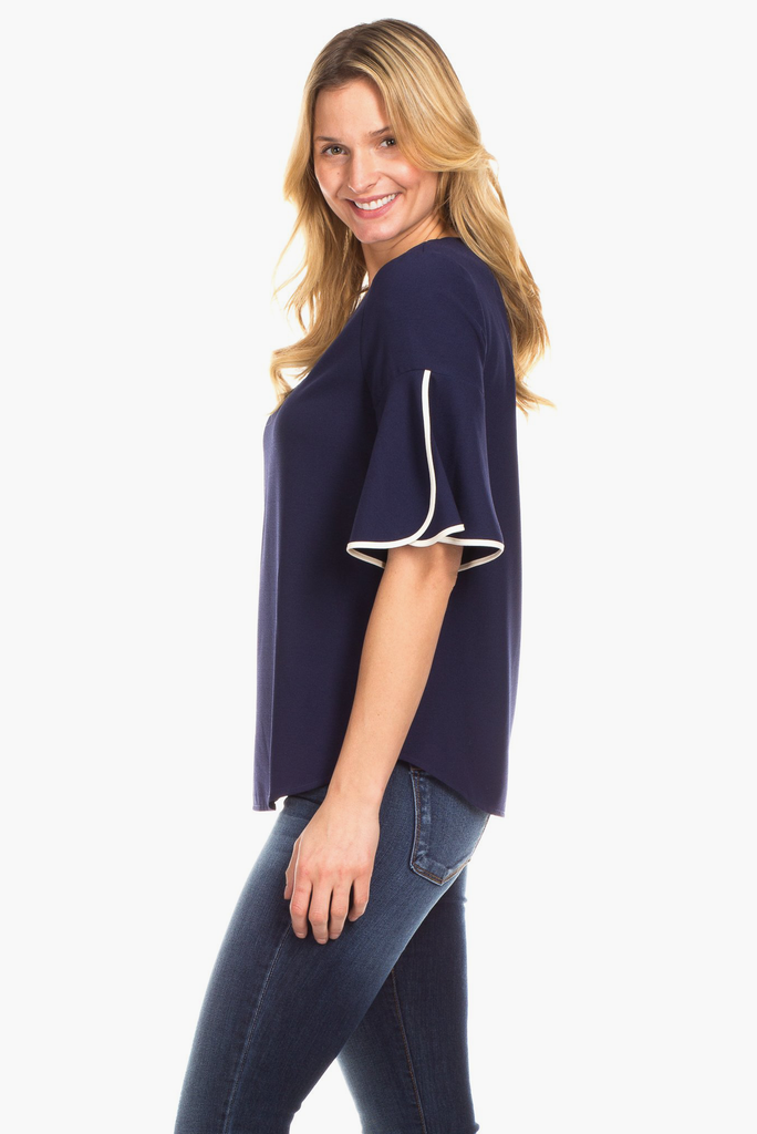 Tulip Top in Navy with Ivory