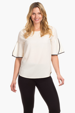 Tulip Top in Ivory with Black