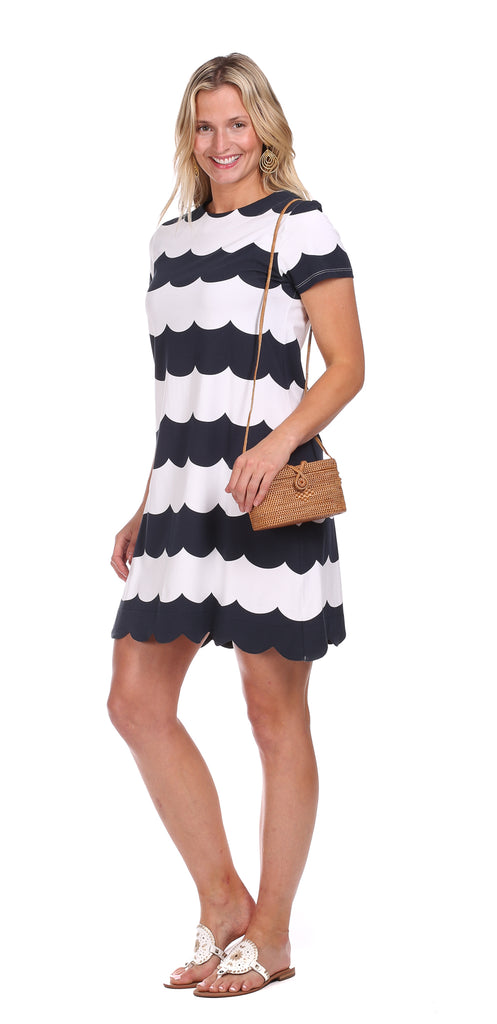 Vanessa Dress in Navy Scallop