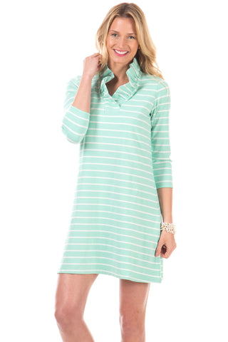 Newberry Dress in Mint with White