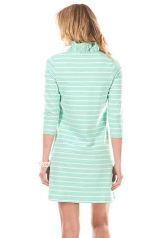 Springport Dress in Mint Stripes