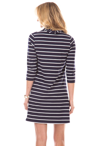 Springport Dress in Navy Stripes