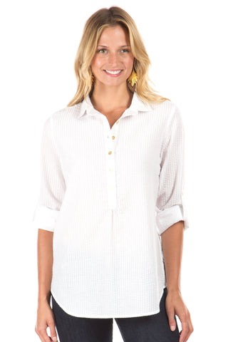 Haven V-Neck in White with Navy