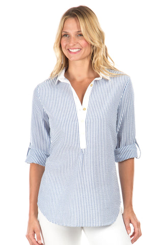 Polly Pullover in White with Navy Stripes