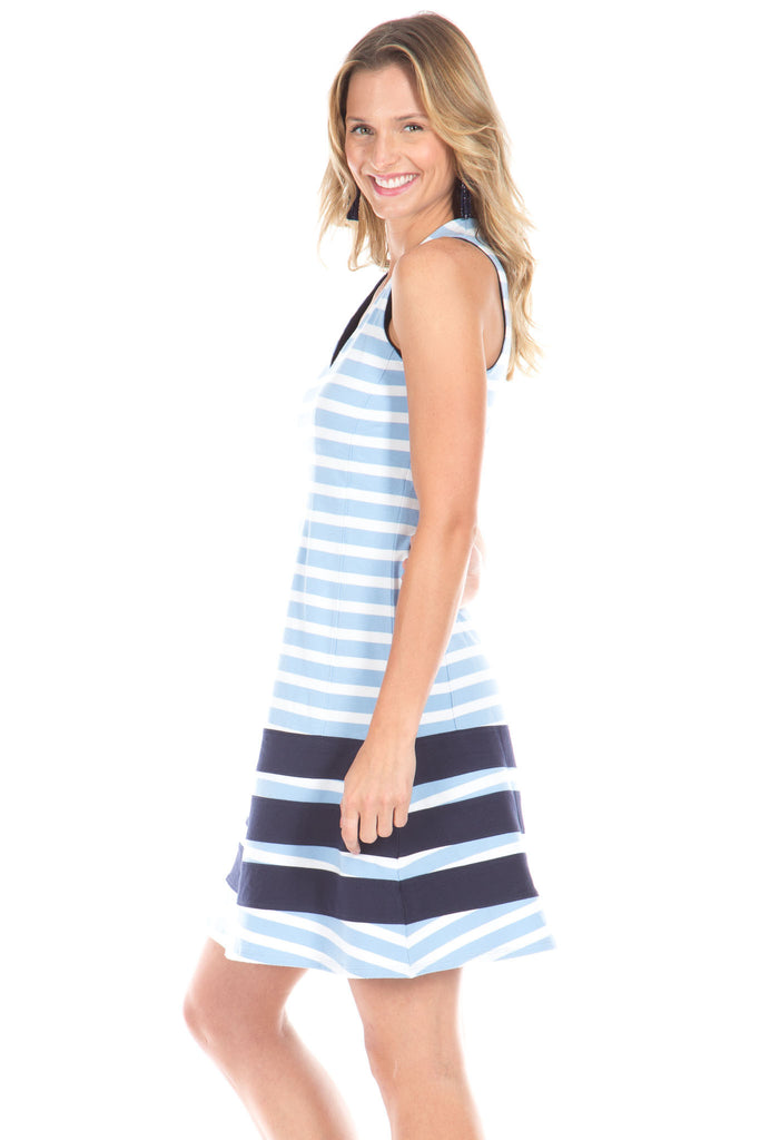 Waverly Dress in Sky Stripes with Navy