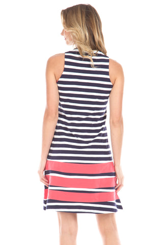 Waverly Dress in Navy Stripes with Watermelon