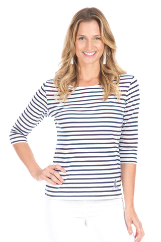 Carolyn in Navy with Striped Trim
