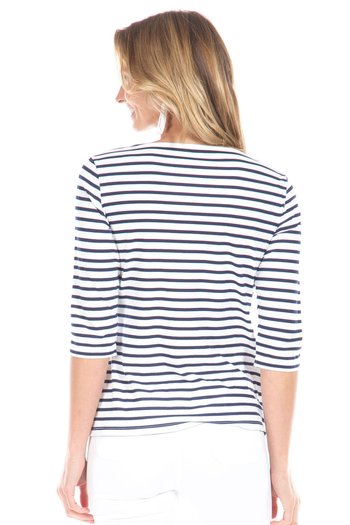 Stripe Tee in Navy and White