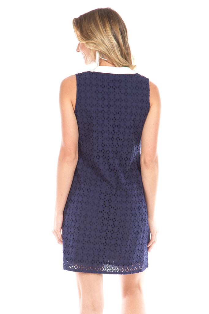 Bridgeport Dress in Navy Eyelet with White