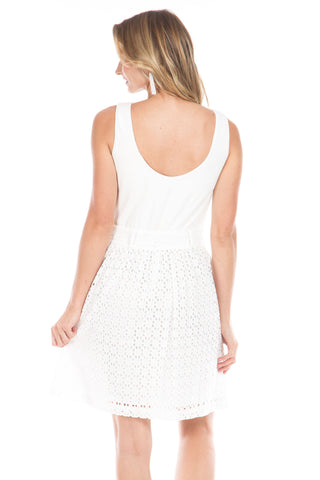 Leland Dress in White Eyelet