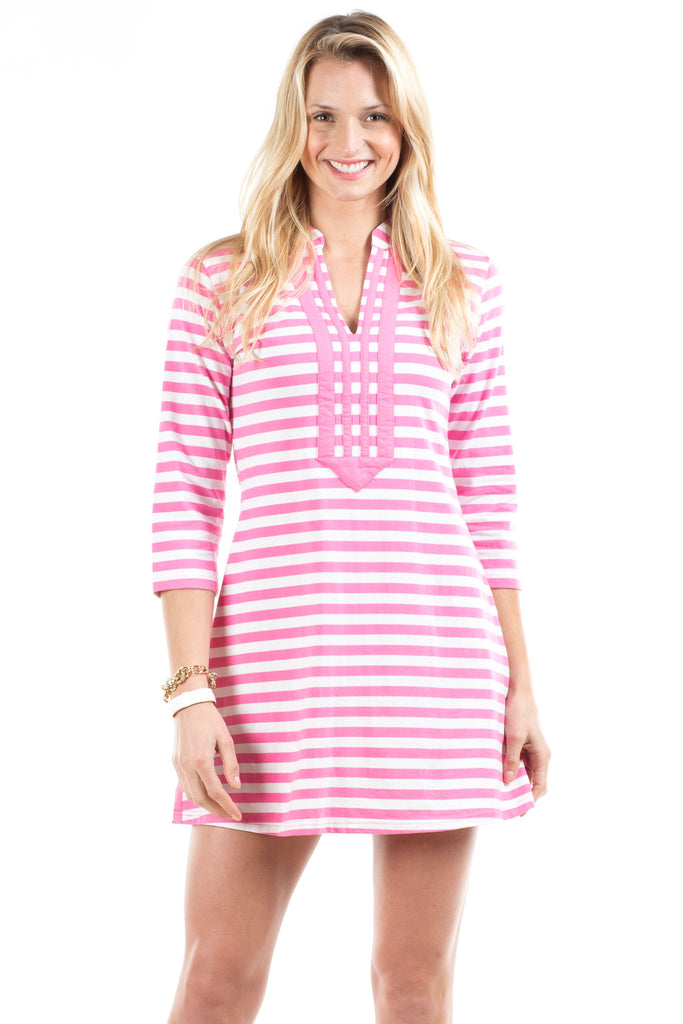 Spring Lake Dress in Pink Stripes