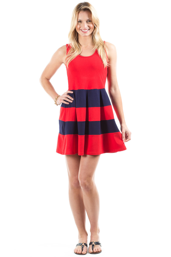 Ludington Dress in Red with Navy