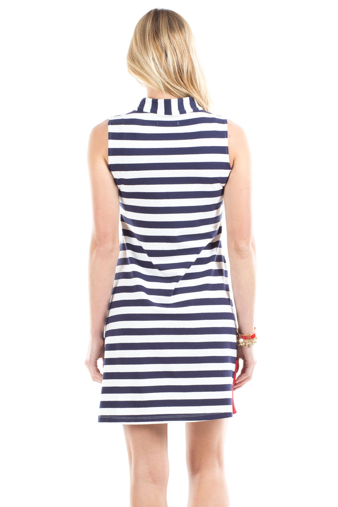 Mackinac Dress in Navy Stripes with Red