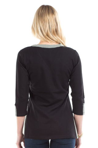 Elizabeth Tunic in Black with Houndstooth