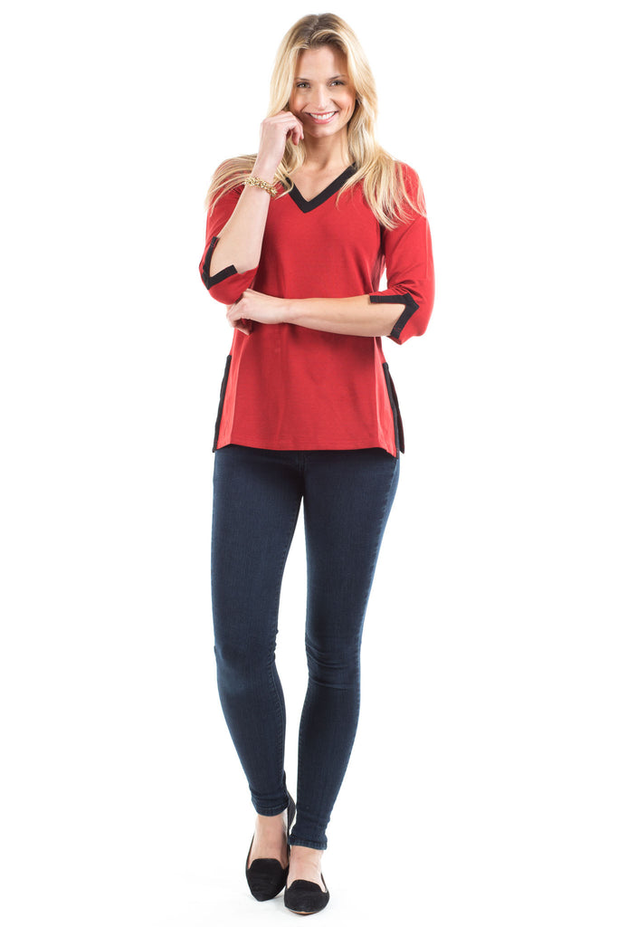 Elizabeth Tunic in Red with Black