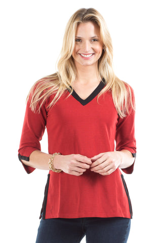 Polly Pullover in Red with Tartan