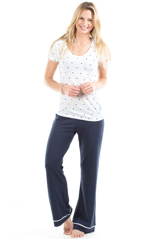 Sleep Slacks in Navy with White