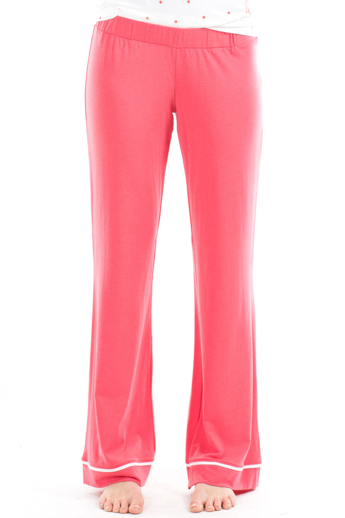Sleep Slacks in Coral with White