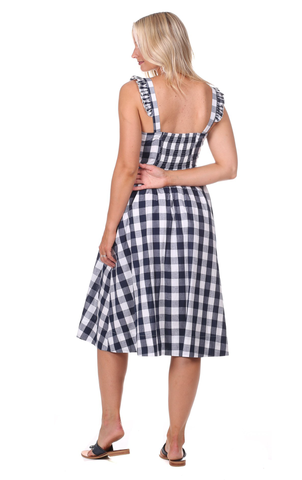 Wendy Dress in Navy Gingham