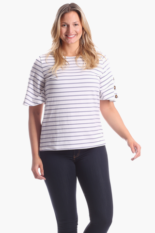 Winnie Top in Silver & White Stripe